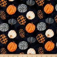 Northcott Raven's Claw Rolling Pumpkins Black/Multi
