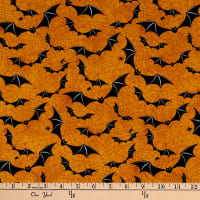 Northcott Raven's Claw Going Batty Orange/Black