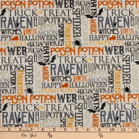Northcott Raven's Claw Spooky Sayings Cream/Multi