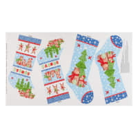 "Northcott Bearly Xmas Bearly 24"" Panel Stocking Dark Blue Multi"