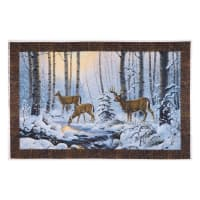 "Northcott Pine Valley Snowy Deer Panel 28"" White/Multi"