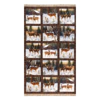 "Northcott Digital Pine Valley Snowy Deer Blocks 24"" White/Multi"
