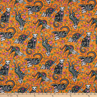 Northcott Nine Lives Day of the Dead Kitties Orange/Multi