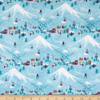 Northcott Hit the Slopes Village Turquoise/Multi