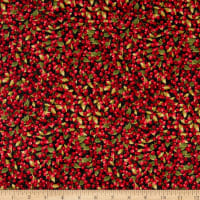 Northcott Cardinal Woods Berries Black/Multi
