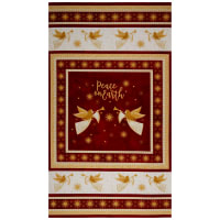 "Northcott Angels Above Metallic Angel 24"" Panel Red"