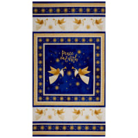 "Northcott Angels Above Metallic Angel 24"" Panel Royal"