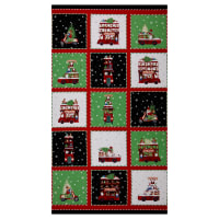 "Northcott Double Decker Christmas 24"" Block Panel Black/Multi"