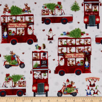 Northcott Double Decker Christmas All-Over Buses White/Multi
