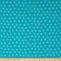 Northcott Frost Bite Flannel Small Snowflakes Dark Turquoise