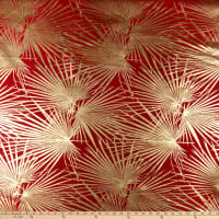 "112"" Wedding Table Top Palms Jacquard Red"