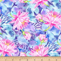 P&B Textiles Water Lilies Allover Blue