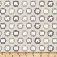 Kaufman Cozy Cotton Flannel Lions Grey