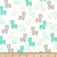 Kaufman Cozy Cotton Flannel Giraffes Mint