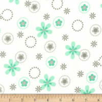 Kaufman Cozy Cotton Flannel Multi Floral Mint