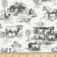 Kaufman Down On The Farm Toile Black