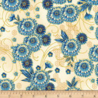 Kaufman Imperial Collection Metallic 15 Floral Indigo