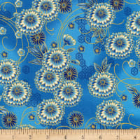 Kaufman Imperial Collection Metallic 15 Floral Sky