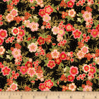 Kaufman Imperial Collection Metallic 15 Tiny Floral Black