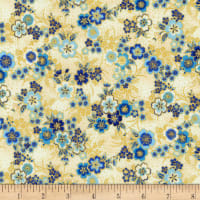 Kaufman Imperial Collection Metallic 15 Tiny Floral Indigo