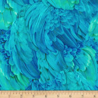 Kaufman Imaginings Aqua Feathers Tropical