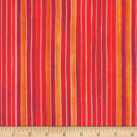 Kaufman Synchronicity Stripes Poppy