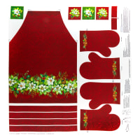 "Northcott Deck the Halls Apron/Oven Mitt Panel 24"" Red Multi"
