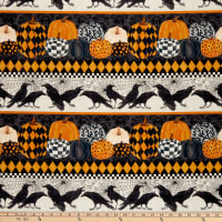 Northcott Raven's Claw Horizontal Birds and Prints Black