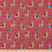 Kokka Animal World Llama Canvas Pink
