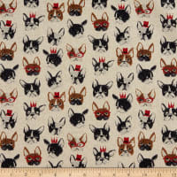 Kokka Animal World French Bulldog Canvas Cream