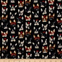Kokka Animal World French Bulldog Canvas Black