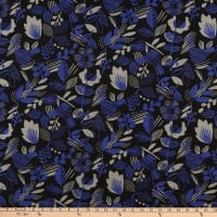 Kokka Blue Blue Bird Floral Canvas Black