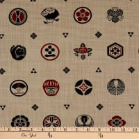 Kokka Japanese Traditional Family Crest Canvas Red Tan