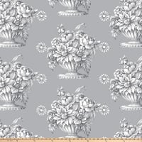 "Kaffe Fassett 108"" 300 Thread-Count Sateen Quilt Back, Stone Flower - Gray"
