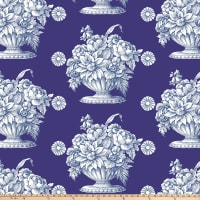 "Kaffe Fassett 108"" 300 Thread-Count Sateen Quilt Back, Stone Flower - Royal"