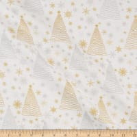 Fabric Editions Holiday Sparkle Glitter Trees Gold