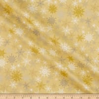 Fabric Editions Holiday Sparkle Glitter Snowflakes Gold