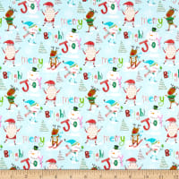 Fabric Editions Holiday Christmas Pals Fun In The Snow Blue
