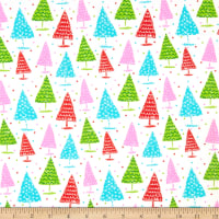 Fabric Editions Holiday Christmas Pals Trees White