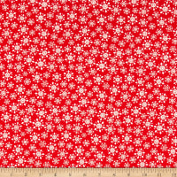 Fabric Editions Holiday Christmas Pals Snowflakes Red