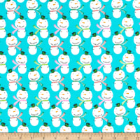 Fabric Editions Holiday Christmas Pals Snowmen Turquoise