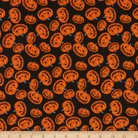 Fabric Editions Holiday Halloween Party Pumpkins Black