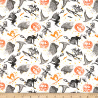 Fabric Editions Holiday Spooky Night Lead Print White