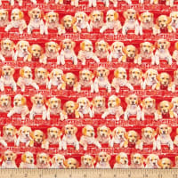 Fabric Editions Holiday Santas Helpers Puppies in the Truck Red