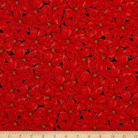 Fabric Editions Holiday Merry & Bright Packed Poinsettia Red