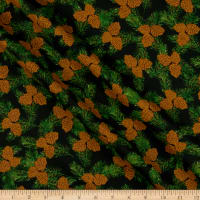 Fabric Editions Holiday Merry & Bright Pine Cones Black