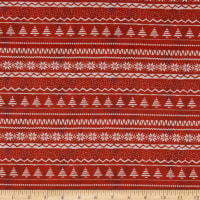 Fabric Editions Holiday Christmas Campers Sweater Stripe
