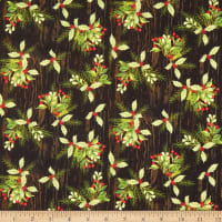 Fabric Editions Holiday Christmas Campers Christmas Holly Black