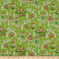 Fabric Editions Holiday Winter Woodland Christmas in the Woods Green