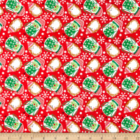 Fabric Editions Holiday Winter Woodland Owls and Hedgehogs Red